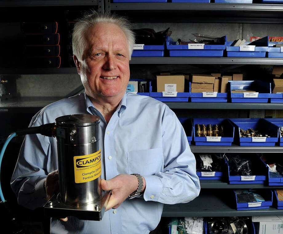Hans Wagner, president of ClampOn, a Norwegian company with an office in Houston, displays a particle monitor. His company specializes in deep-water ultrasonic technology. Photo: Dave Rossman, Freelance / © 2013 Dave Rossman
