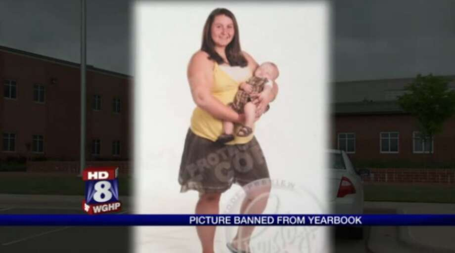 Caitlin Tiller posed for her high school senior picture holding her 1-year-old baby. (Fox 8)