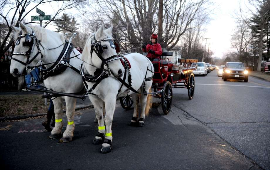 No. 5 (Tie): Southport, 06890According to the USDA's most recent Census of horses, this ZIP code has three farms with horses or ponies in their inventory.  A horse-drawn carriage takes passengers to the shore and back at the Pequot Library in Southport during the community Christmas carol sing-along.