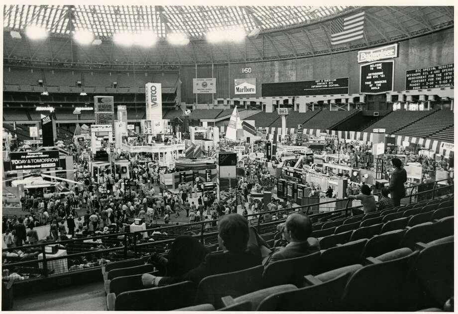 1981 - Offshore Technology Conference attendees take a break from the exhibits on the crowded Astrodome floor. Photo: Sandra Shriver, Houston Chronicle