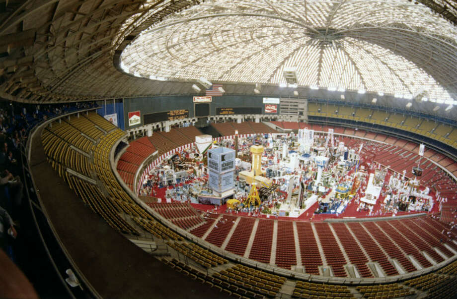 1982 - Offshore Technology Conference exhibits are displayed on the floor of the Astrodome Photo: Houston Chronicle