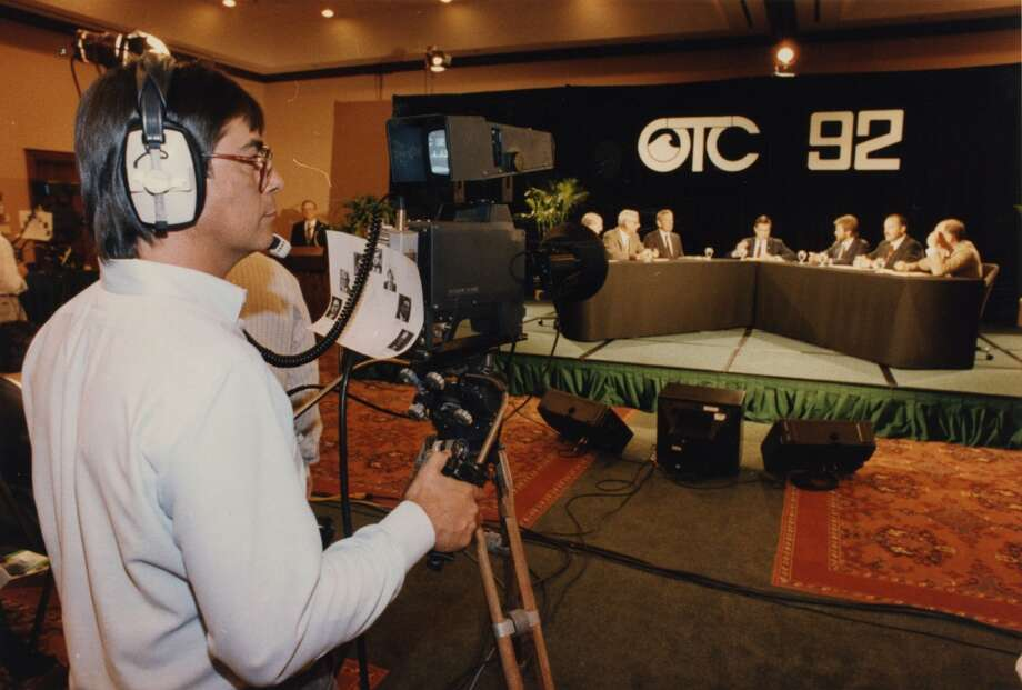 "1992 - A camera operator works at the Offshore Technology Conference's debate between energy company executives and environmental activists. The six-person debate, moderated by journalist Hodding Carter, was the first televised event ever for the annual industry trade show. The 1-1/2-hour program, coordinated by the Jefferson Energy Foundation and New Vision Communications Ltd., was broadcast live to several universities across the country and will be televised again as part of Public Broadcasting System's ""Man, Energy & the Environment"" series Photo: Ira Strickstein, Houston Chronicle"