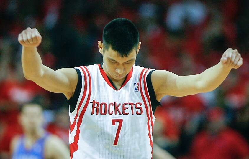 Rockets point guard Jeremy Lin enters the game in the first half.