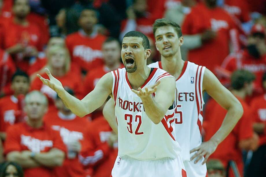 Francisco Garcia reacts after he is called for his fifth foul. Photo: James Nielsen, Houston Chronicle