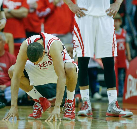 Rockets guard Francisco Garcia reacts after being called for his fifth foul.