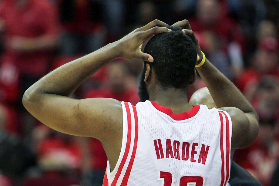 Rockets shooting guard James Harden reacts to a call. Photo: James Nielsen, Houston Chronicle