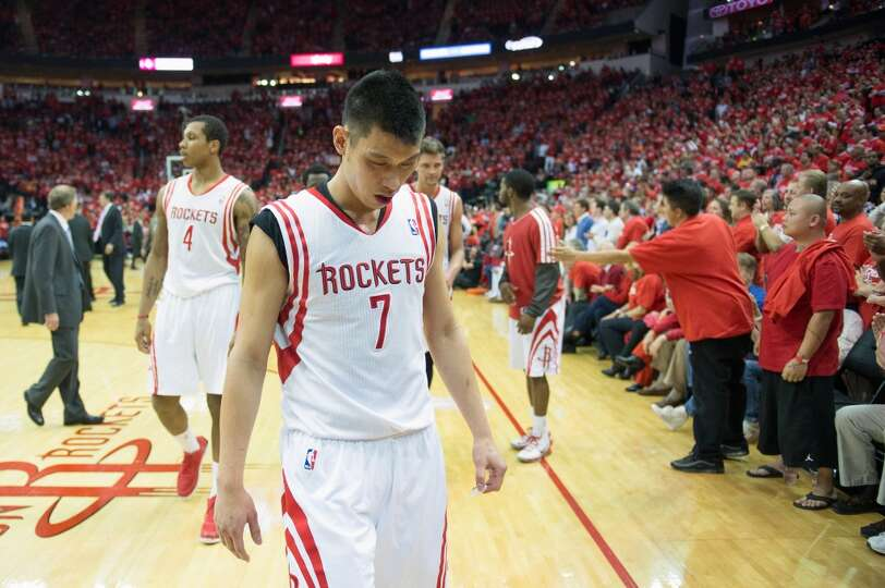 Rockets point guard Jeremy Lin walks off the court at the end of the first half.