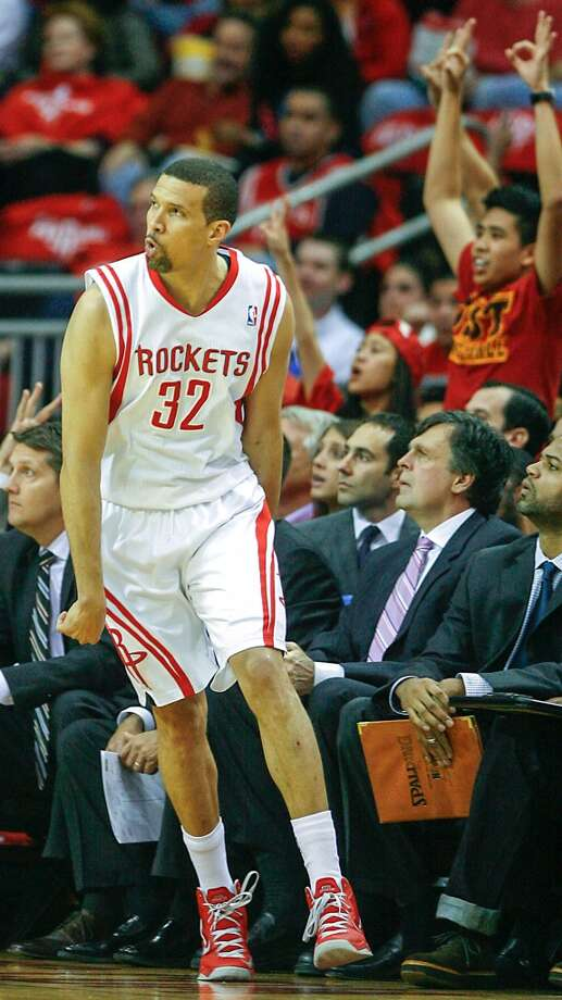 Francisco Garcia reacts after scoring a basket against during the first half. Photo: James Nielsen, Houston Chronicle
