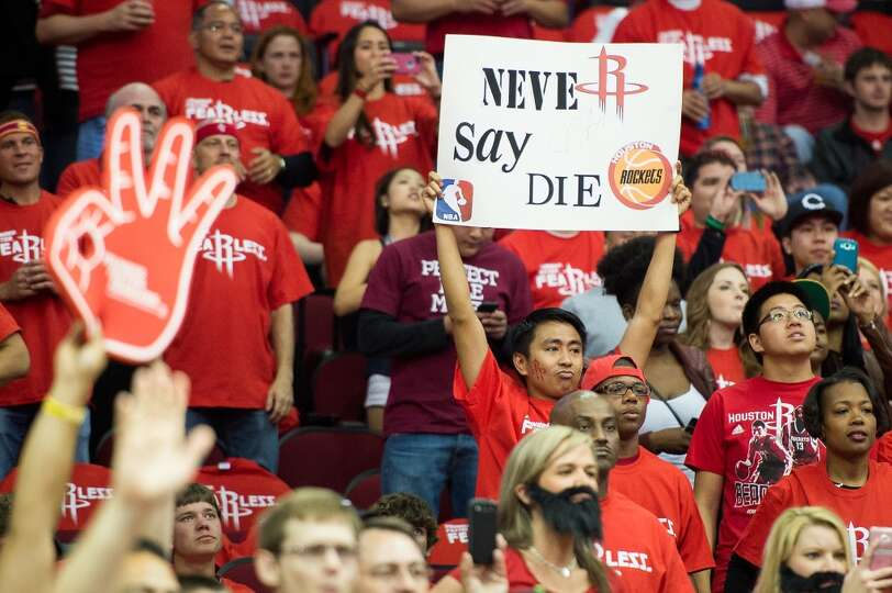 Rockets fans cheer their team before Game 6.