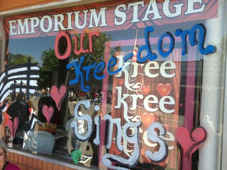Kree Harrsion is celebrated in shop windows across Woodville.  Randy Edwards via Twitter The Beaumont Enterprise Photo: Edwards
