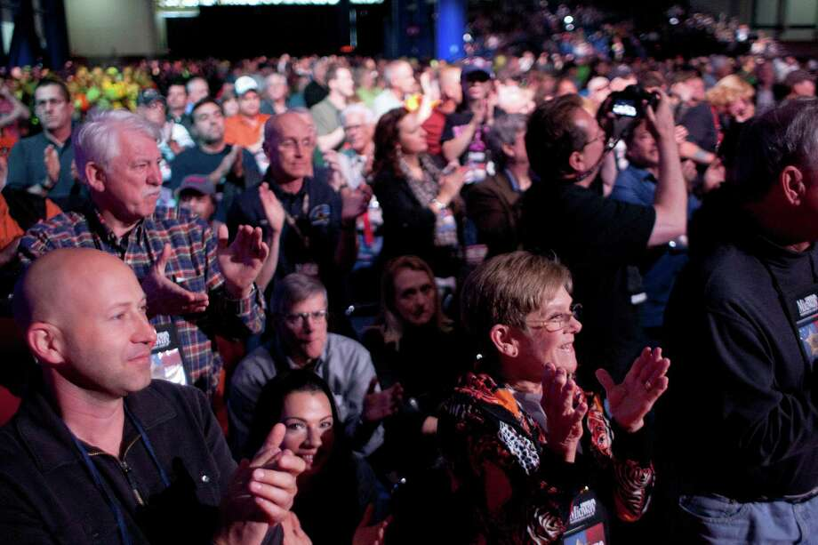 NRA attendees applaud Senator Ted Cruz during the NRA-ILA Leadership Forum at the National Rifle Association's 142 Annual Meetings and Exhibits in the George R. Brown Convention Center Friday, May 3, 2013, in Houston. Photo: Johnny Hanson, Houston Chronicle / © 2013  Houston Chronicle