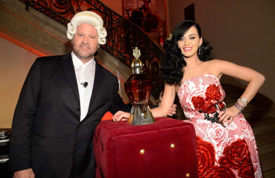 VP Global Marketing Coty Steve Mormoris and Katy Perry attend her fragrance sneak preview at the James B Duke Mansion on May 2, 2013 in New York City. Photo: Kevin Mazur / 2013 Kevin Mazur