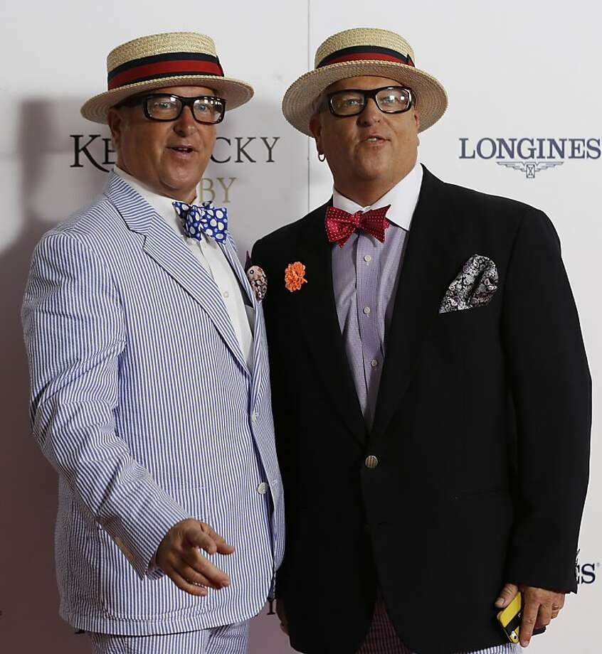 """Storage Wars"" starts Matt and Mark Harris, left, arrive to attend  the 139th Kentucky Derby at Churchill Downs Saturday, May 4, 2013, in Louisville, Ky.  Photo: Darron Cummings, Associated Press"