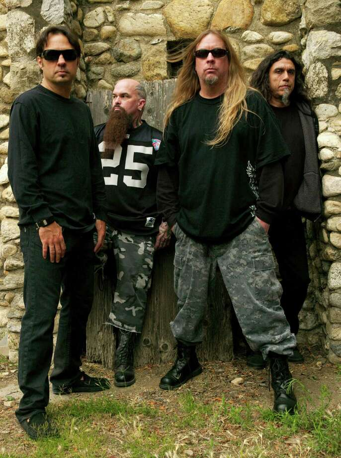 This 2009 publicity photo provided courtesy of Slayer shows, from left, Dave Lombardo, Kerry King, Jeff Hanneman and Tom Araya. Hanneman, 49, a founding member of the heavy metal band Slayer, has died. Slayer spokeswoman Heidi Robinson-Fitzgerald  says Hanneman died Thursday morning, May 2, 2013, of liver failure at a Los Angeles hospital with his wife, Kathy, by his side. (AP Photo/Courtesy of Slayer, Mark Seliger) Photo: Mark Seliger