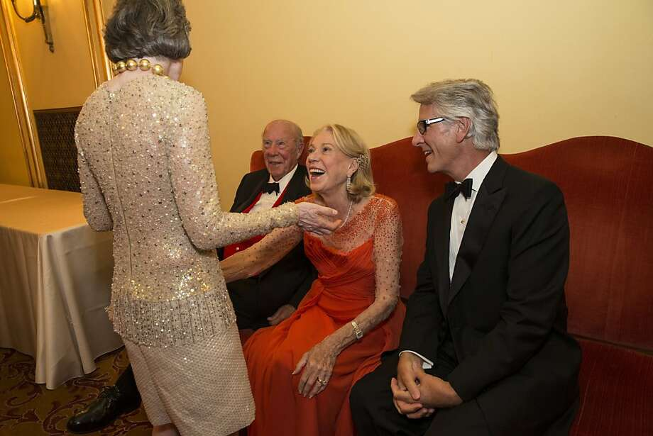 Carole Shorenstein Hays, George Shultz, Charlotte Shultz and Jeff Hays (left to right) chat during intermission during San Francisco Ballet's Cinderella Opening Night Ball at War Memorial Opera House in San Francisco, Calif., on Friday, May 3, 2013.  The party celebrated the opening night and United States premiere of choreographer Christopher Wheeldon's production of Cinderella. Photo: Laura Morton, Special To The Chronicle