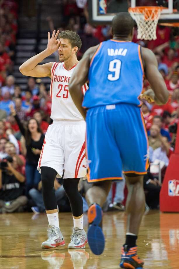 April 29: Rockets 105, Thunder 103Chandler Parsons led the way as the NBA's youngest team won its first playoff game against Oklahoma City. Thunder lead series 3-1 Photo: Smiley N. Pool, Houston Chronicle