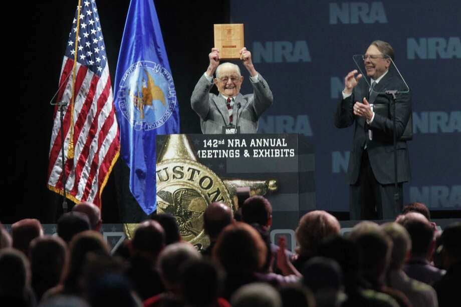 NRA honors its oldest member at its meeting Saturday in Houston. Photo: Johnny Hanson/Chronicle