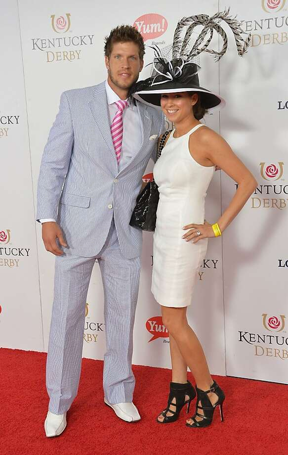 LOUISVILLE, KY - MAY 04:  NFL player Kevin Walter and Caroline Gamba Walter celebrate the 139th Kentucky Derby with Moet & Chandon at Churchill Downs on May 4, 2013 in Louisville, Kentucky.  (Photo by Mike Coppola/Getty Images for Moet & Chandon) Photo: Mike Coppola, Getty Images For Moet & Chandon