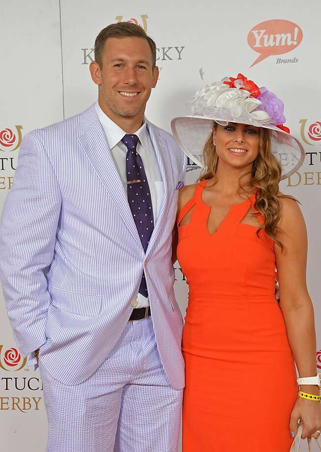 LOUISVILLE, KY - MAY 04:  NFL player Owen Daniel and Angela Mecca celebrate the 139th Kentucky Derby with Moet & Chandon at Churchill Downs on May 4, 2013 in Louisville, Kentucky.  (Photo by Mike Coppola/Getty Images for Moet & Chandon) Photo: Mike Coppola, Getty Images For Moet & Chandon