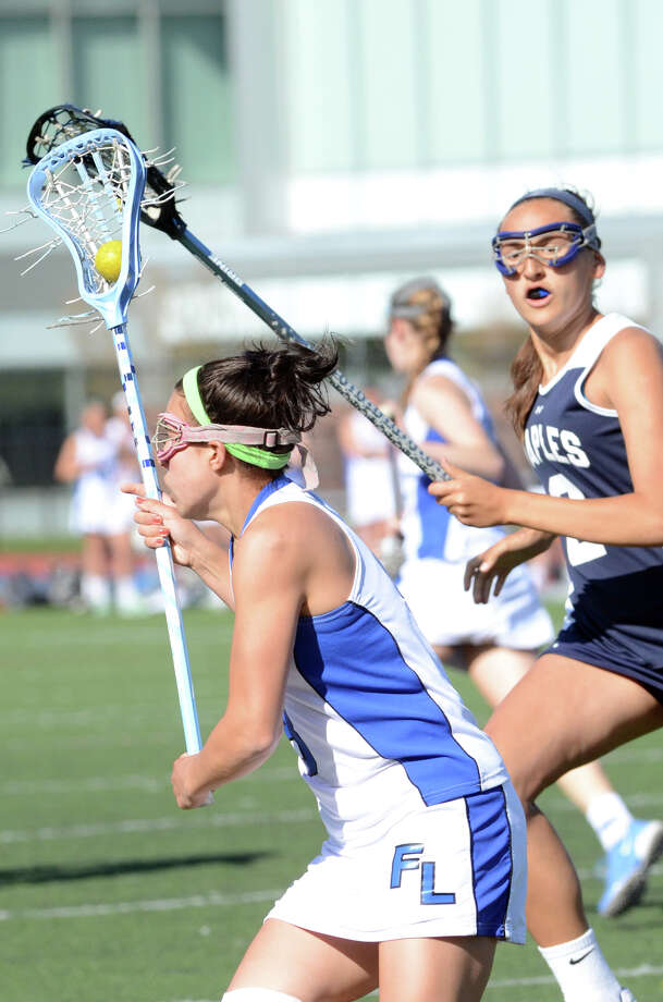 Ludlowe's Olivia Morawski (8) controls the ball during the girls lacrosse game against Staples at Fairfield Ludlowe High School Taft Field on Saturday, May 4, 2013. Photo: Amy Mortensen / Connecticut Post Freelance