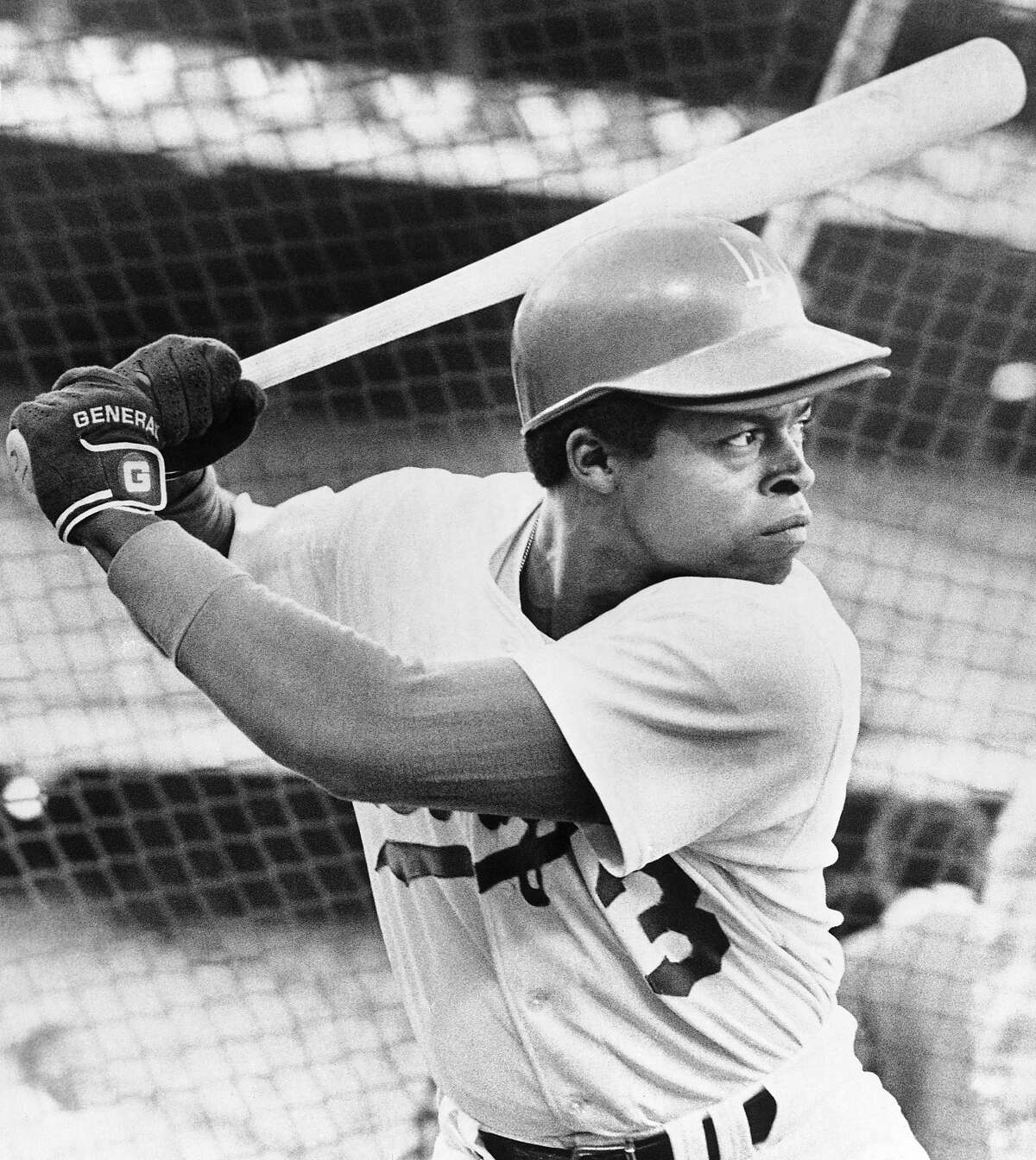 Glenn Burke taking some batting practice at Dodger Stadium in Los Angeles on Monday, Oct. 4, 1977 was given the call to start at center field for the Los Angeles Dodgers on Tuesday when they open the National League Championships against the Philadelphia Phillies. Burke got the call when Rick Monday, the Dodgers regular center fielder, came up with a sore back that has been bothering him all season. (AP Photo/LM)