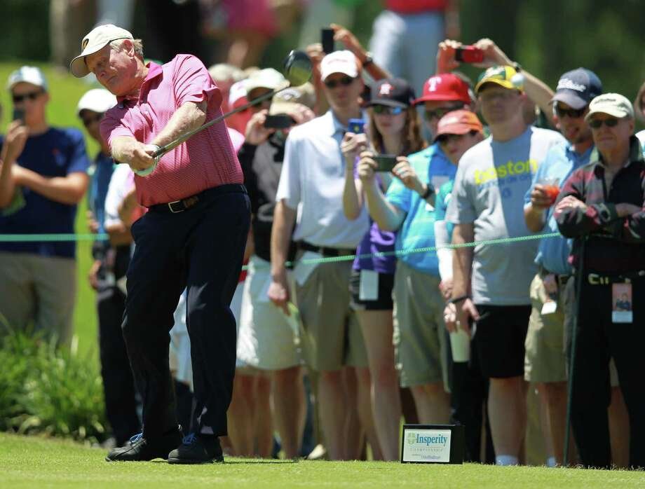 Jack Nicklaus hits his tee shot on No. 2 during the Greats of Golf exhibition at the Insperity Championship, Saturday, May 4, 2013 at The Woodlands Country Club Tournament Course in The Woodlands, TX. (Photo: Eric Christian Smith/For the Houston Chronicle) Photo: Eric Christian Smith, For The Chronicle