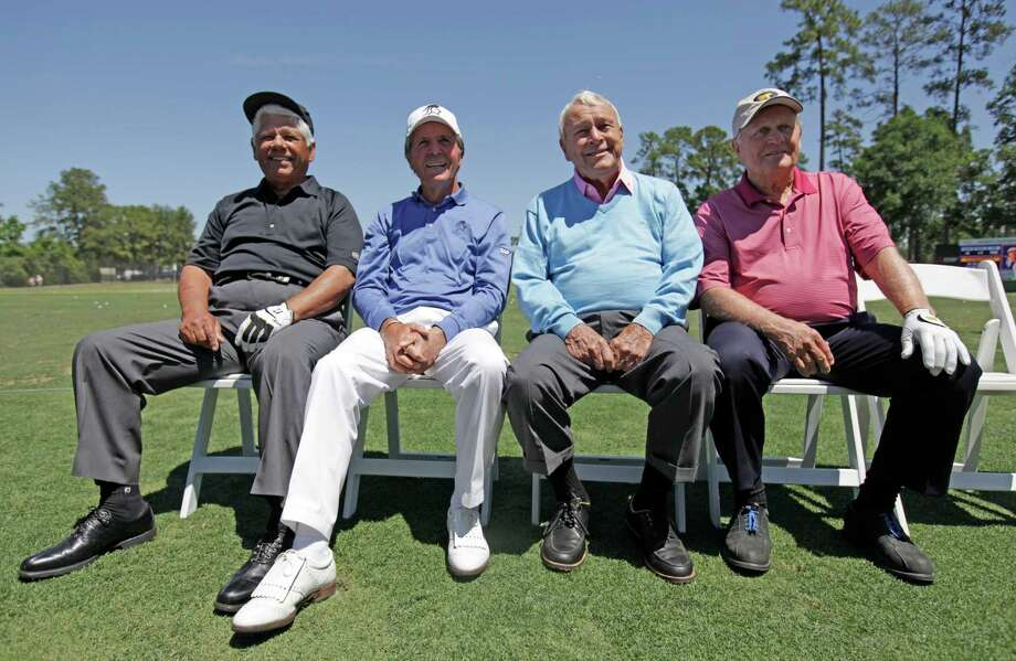 Lee Trevino, Gary Player, Arnold Palmer and Jack Nicklaus on the practice tee before the Greats of Golf exhibition at the Insperity Championship. Photo: Eric Christian Smith, For The Chronicle