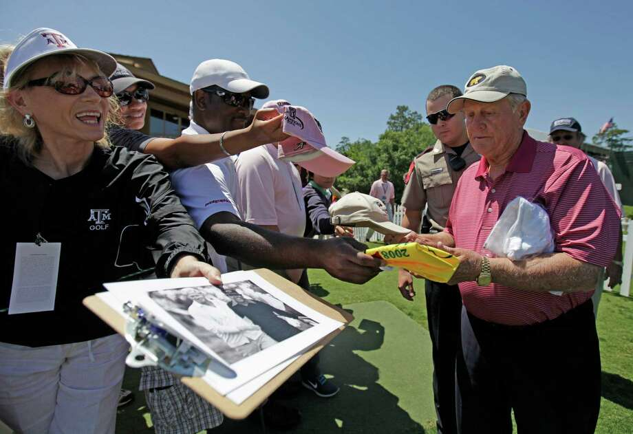 Jack Nicklaus signs autographs before the Greats of Golf exhibition at the Insperity Championship, Saturday, May 4, 2013 at The Woodlands Country Club Tournament Course in The Woodlands, TX. Photo: Eric Christian Smith, For The Chronicle