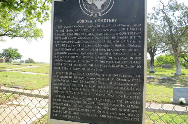 "A Texas Historical Marker at the Aurora Cemetery documents the strange tale of a 19th century ""undocumented alien."", Monday, April 22, 2013, in Aurora, Texas. Photo: Joe Holley, Houston Chronicle / © 2013 Houston Chronicle"
