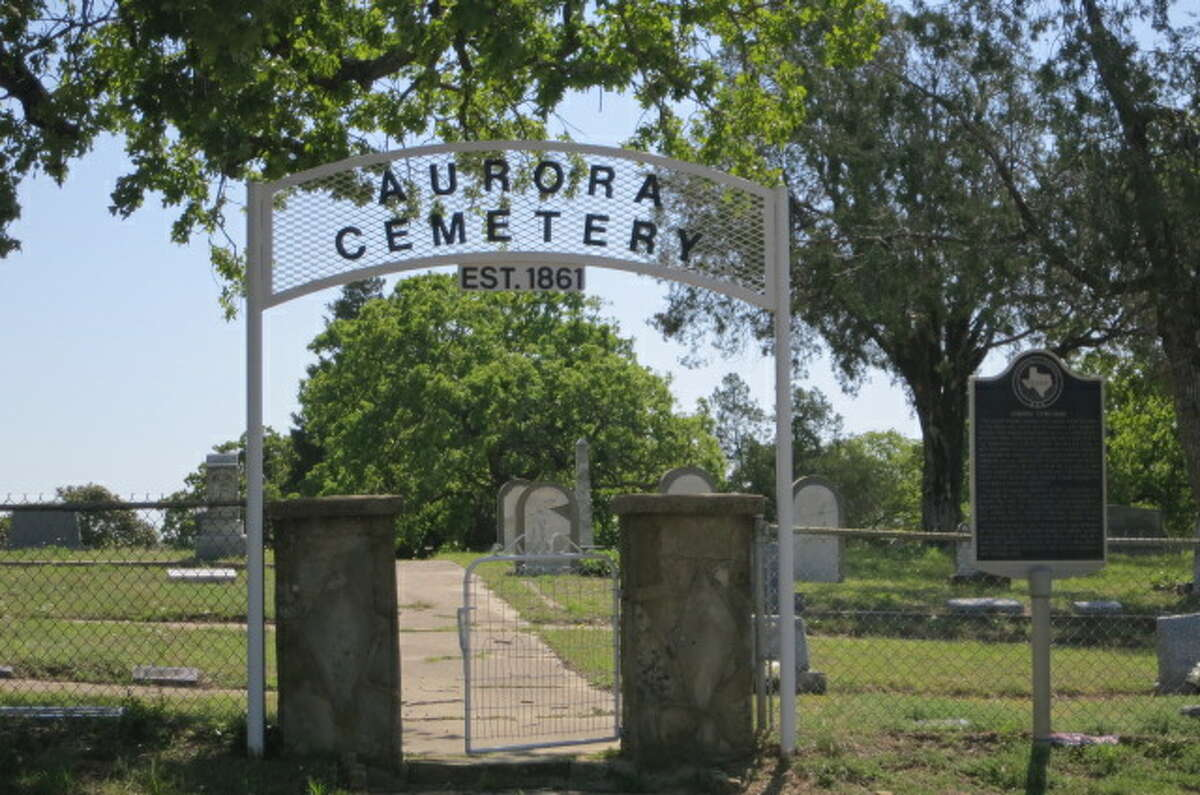 """A Texas Historical Marker at the Aurora Cemetery documents the strange tale of a 19th century """"undocumented alien."""", Monday, April 22, 2013, in Aurora, Texas."""