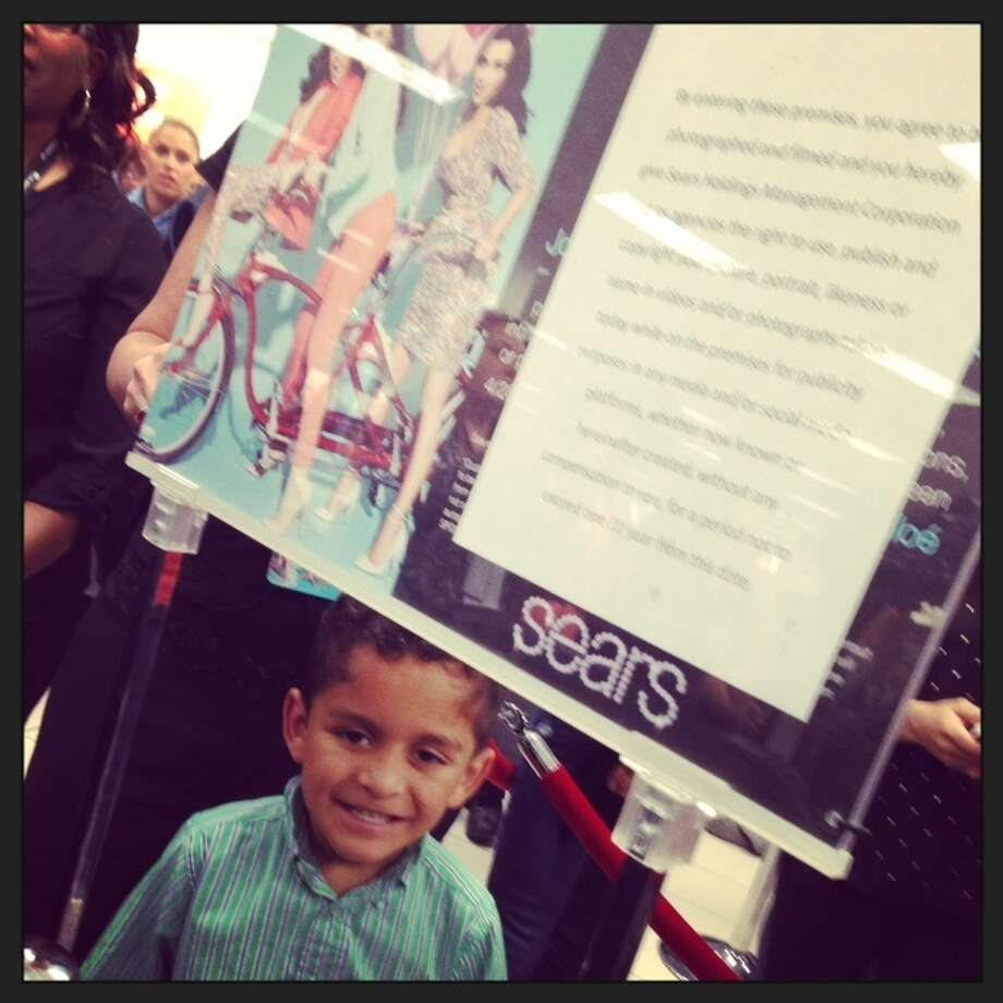 6-year-old Eric Garza was first in line to meet the Kardashians at Sears.