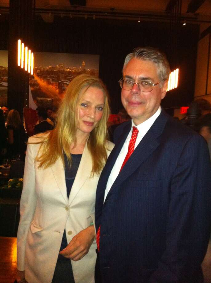 Greenwich resident Dr. Jeffrey Laurence with actress Uma Thurman at a movie opening. Photo: Advocate