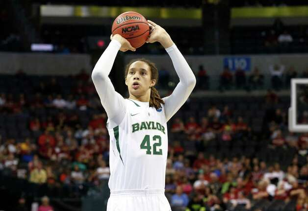 Baylor's Brittney Griner shoots a foul shot against Louisville in the second half of a regional semi-final game in the women's NCAA college basketball tournament in Oklahoma City, Monday, April 1, 2013. Louisville won 82-81. (AP Photo/Sue Ogrocki) Photo: Associated Press / AP