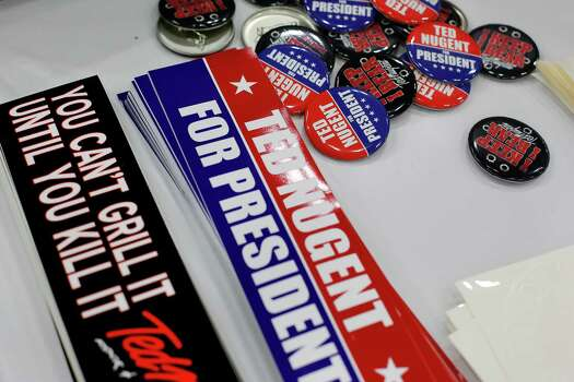 A table selling Ted Nugent merchandise is seen, during day 2 of the 142nd NRA annual meetings and exhibits, Saturday, May 4, 2013 at the George R Brown convention center in Houston, Texas. (TODD SPOTH FOR THE CHRONICLE) Photo: © TODD SPOTH, 2013 / © TODD SPOTH, 2013