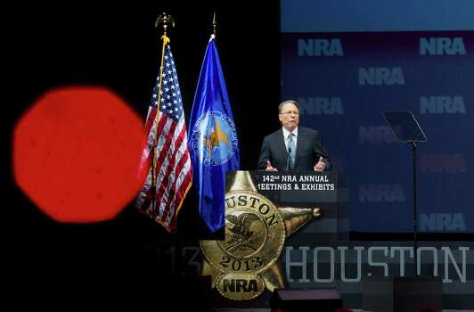 Wayne LaPierre, executive vice president of the NRA speaks during the NRA Annual Meeting of Members at the National Rifle Association's 142 Annual Meetings and Exhibits in the George R. Brown Convention Center Saturday, May 4, 2013, in Houston. Photo: Johnny Hanson, Houston Chronicle / © 2013  Houston Chronicle