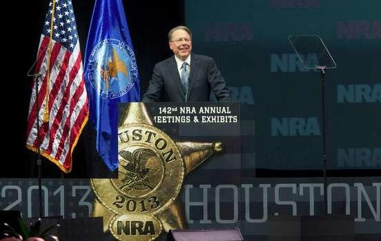 Wayne LaPierre, executive vice president of the NRA, speaks during the NRA Annual Meeting of Members at the National Rifle Association's 142 Annual Meetings and Exhibits in the George R. Brown Convention Center Saturday, May 4, 2013, in Houston. Photo: Johnny Hanson, Houston Chronicle / © 2013  Houston Chronicle