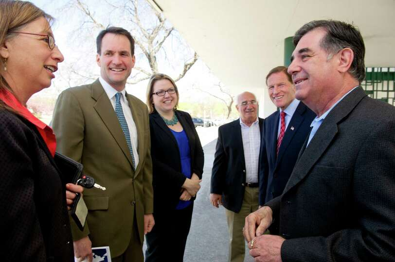 From left, HUD New England Regional Administrator Barbara Fields, Congressman Jim Himes, Executive D