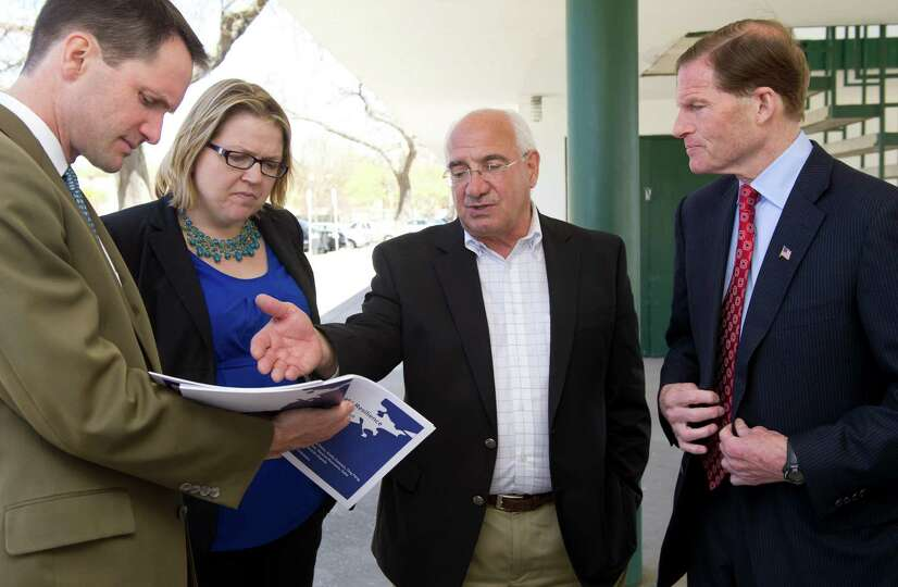 From left, Congressman Jim Himes, Executive Director of the Hurricane Sandy Rebuilding Task Force La