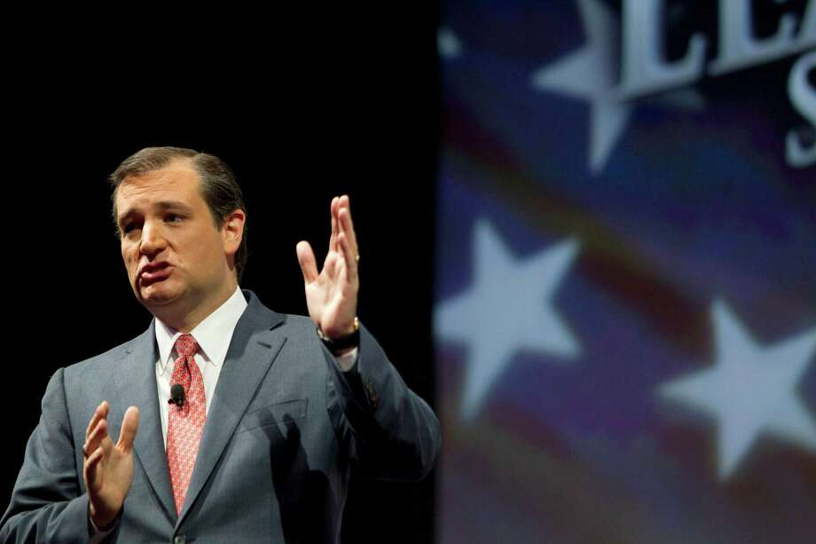 U.S. Senator Ted Cruz speaks during the NRA-ILA Leadership Forum at the National Rifle Association's 142 Annual Meetings and Exhibits in the George R. Brown Convention Center Friday, May 3, 2013, in Houston.  The 2013 NRA Annual Meetings and Exhibits runs from Friday, May 3, through Sunday, May 5.  More than 70,000 are expected to attend the event with more than 500 exhibitors represented. The convention will features training and education demos, the Antiques Guns and Gold Showcase, book signings, speakers including Glenn Beck, Ted Nugent and Sarah Palin as well as NRA Youth Day on Sunday ( Johnny Hanson / Houston Chronicle ) Photo: Johnny Hanson, Staff / © 2013  Houston Chronicle