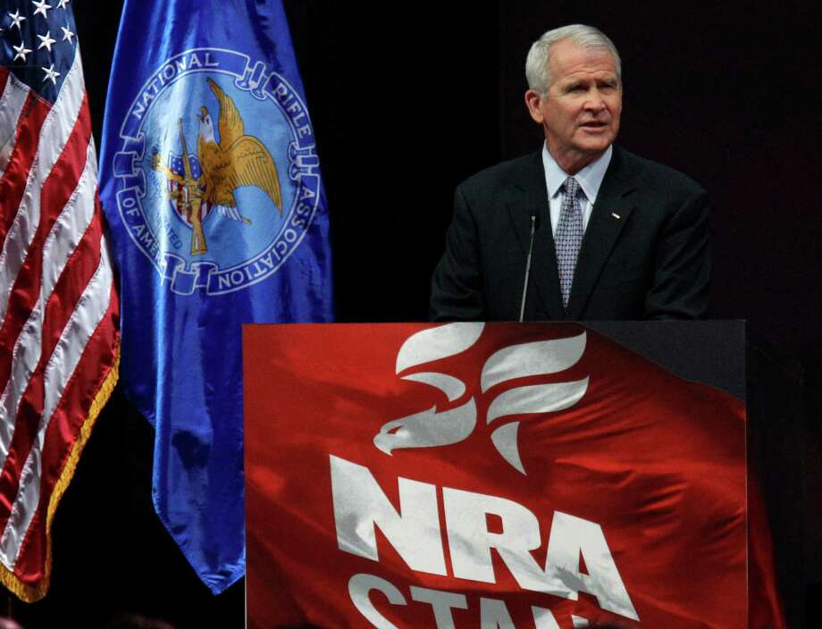 Oliver North speaks during the NRA convention at the George R. Brown Convention Center  Saturday, May 4, 2013, in Houston. Photo: Melissa Phillip, Houston Chronicle / © 2013  Houston Chronicle