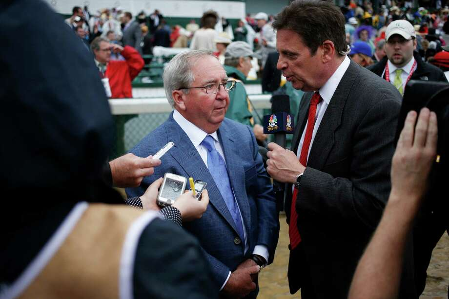 Trainer Shug McGaughey, who trained Orb, is interviewed after the horse won the 139th Kentucky Derby at Churchill Downs in Louisville, Ky., May 4, 2013. Orb won the Kentucky Derby in 2:02.89.  (Luke Sharrett/The New York Times) Photo: LUKE SHARRETT, New York Times / NYTNS