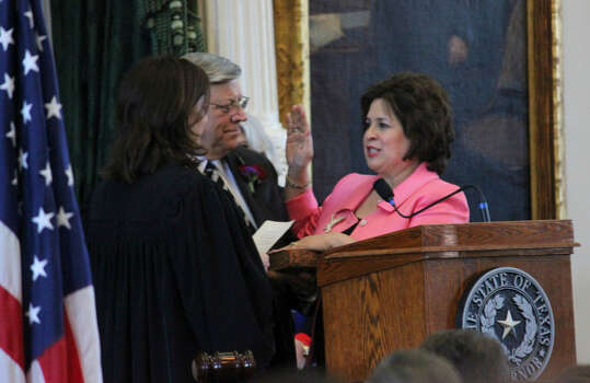 "State Sen. Leticia Van de Putte is sworn in as ""governor for a day"" at the Texas Capitol. Photo: San Antonio Express-News"