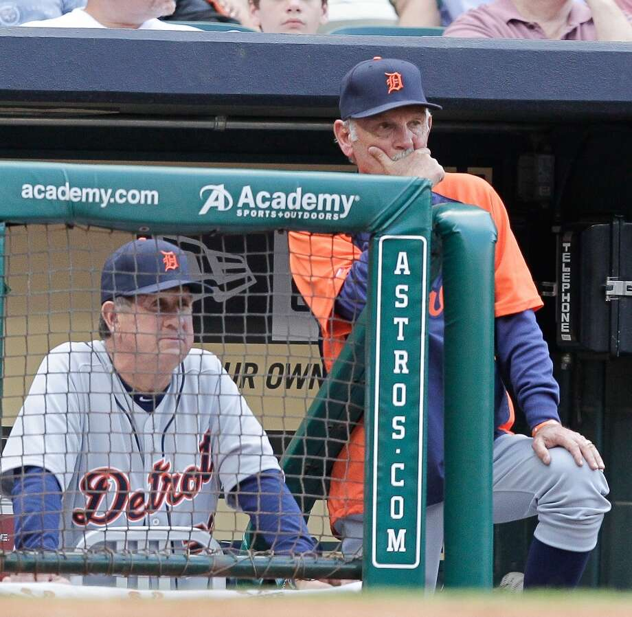 Tigers manager Jim Leyland watches his team play the Astros at Minute Maid Park. Photo: Bob Levey, Getty Images