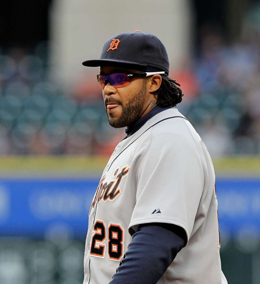 Prince Fielder of the Detroit Tigers looks on as his team plays the Astros at Minute Maid Park.