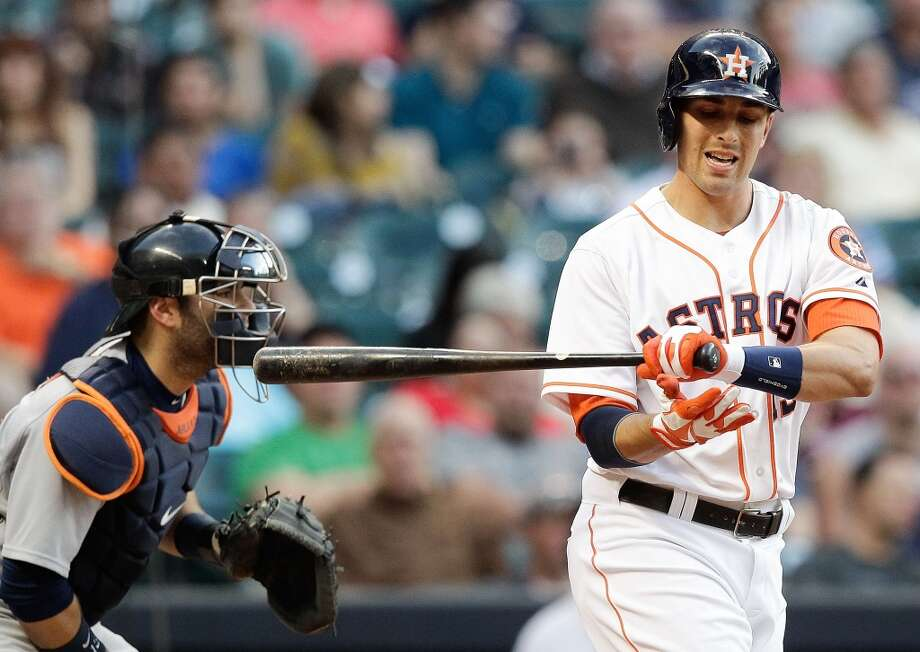 Jason Castro of the Astros strikes out against the Tigers.