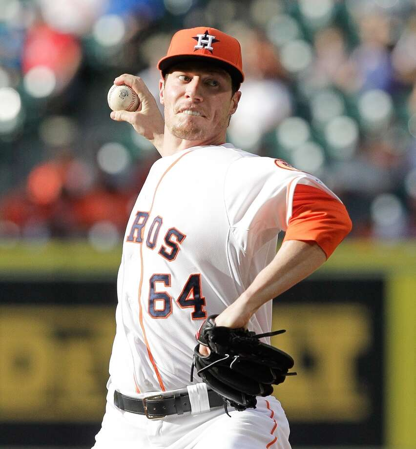Astros pitcher Lucas Harrell makes a throw against the Tigers. Photo: Bob Levey, Getty Images