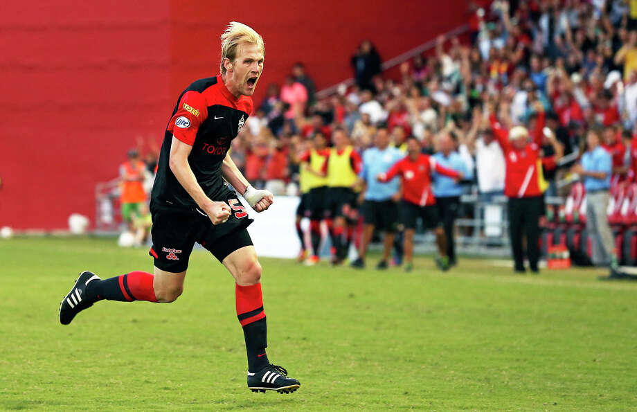 Edin Husic celebrates his goal in the first half as the Scorpions play the Atlanta Silverbacks at Toyota field on May 4, 2013. Photo: TOM REEL