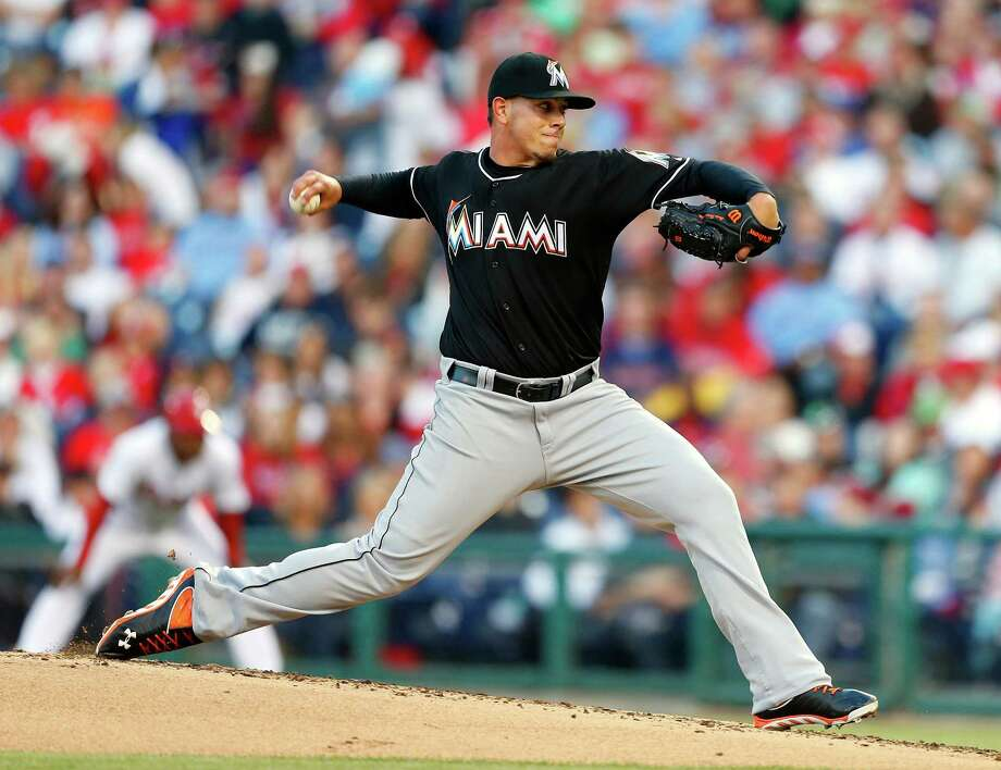 Marlins righthander Jose Fernandez threw seven innings of one-hit ball while striking out nine in Miami's 2-0 win over Philadelphia. Photo: Rich Schultz, Stringer / 2013 Getty Images