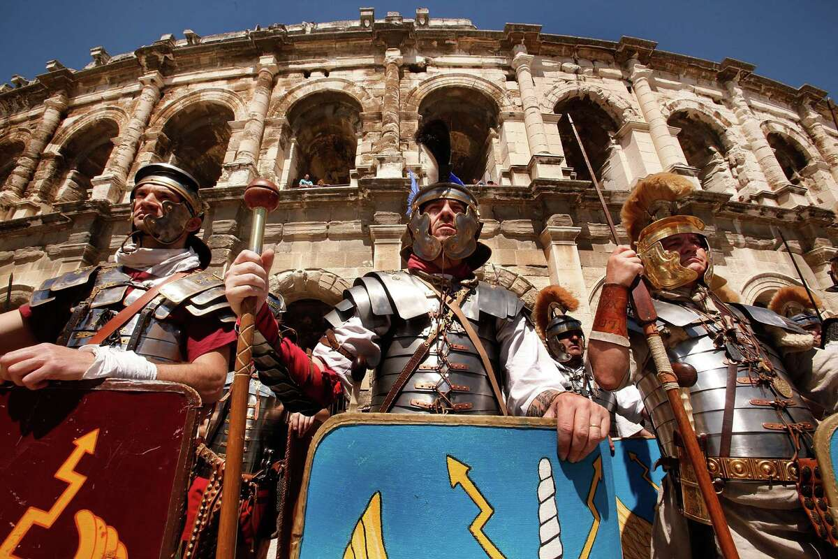 Hundreds of actors from across Europe recreate the Battle of Alesia, where Julius Ceasar, with Mark Antony, and Roman battalions fought against Gaul troops around 52 BCE during the Gallic Wars, during the 4th Great Roman Games on May 4, 2013 in Nimes, France.