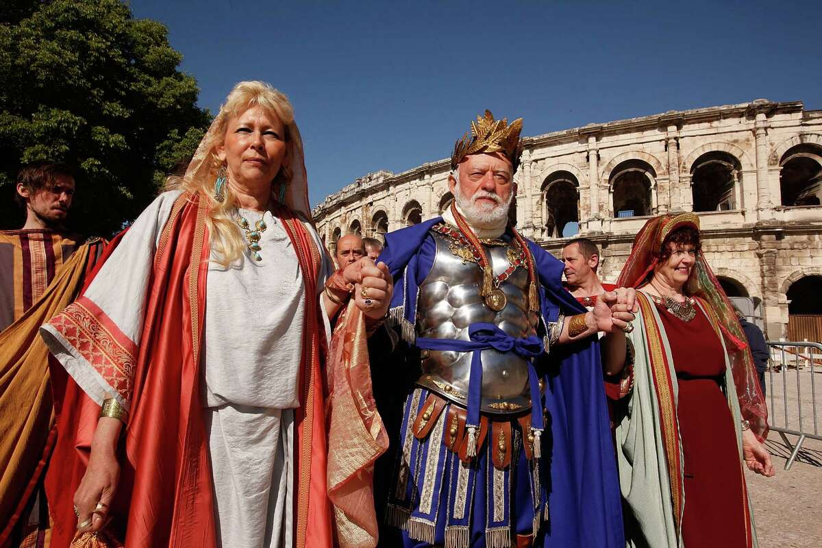 An actor portrays Emperor Hadrian in the historic recreation of the Battle of Alesia, where Julius Ceasar, with Mark Antony, and Roman battalions fought against Gaul troops around 52 BCE during the Gallic Wars, during the 4th Great Roman Games on May 4, 2013 in Nimes, France.